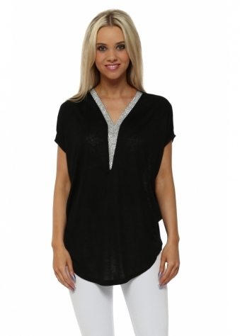 French Boutique Black Fine Knit Crystal V Neck Top
