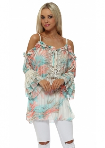 Pastel Province Printed Ruffle Cold Shoulder Top