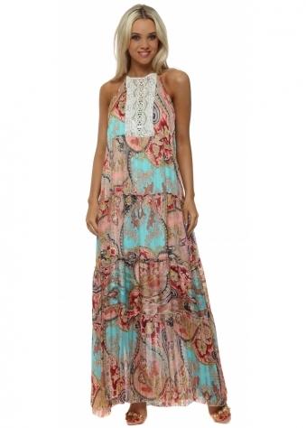 Aqua & Coral Paisley Print Chiffon Maxi Dress