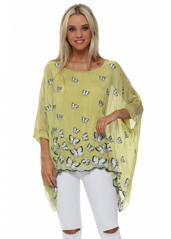Lime Silk Butterfly Embroidered Batwing Top
