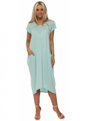 Mint Cotton Oversized Pocket Dress