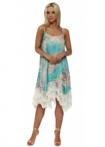 Turquoise Marble Print Chiffon Swing Dress