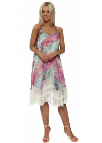 Pink Marble Print Chiffon Swing Dress