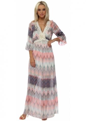 Coral & Blue Zig Zag Crochet Maxi Dress