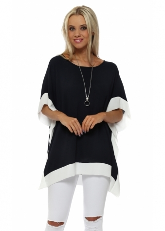 Navy Blue Contrast Border Tunic Top With Necklace