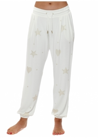 Gerri Vanilla Gold Star & Heart Jogger Pants