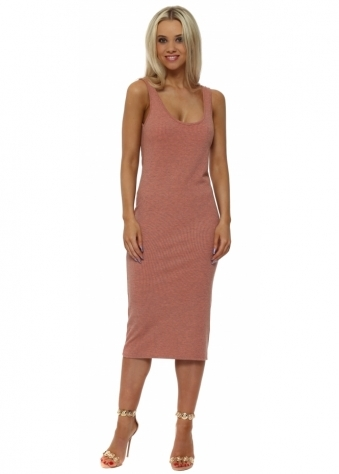 Grace Melon Ribbed Midi Vest Dress