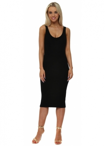 Grace Black Ribbed Midi Vest Dress