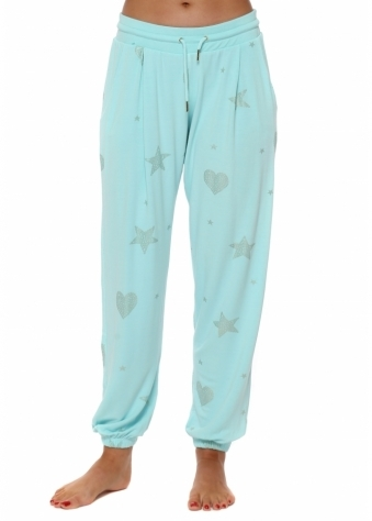 Gerri Paradise Blue Gold Star & Heart Jogger Pants
