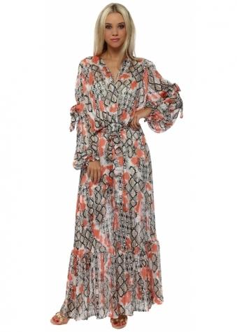 Coral Snake Print Chiffon Maxi Dress