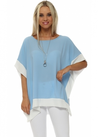Baby Blue Contrast Border Tunic Top With Necklace