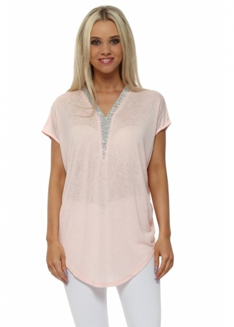 Baby Pink Fine Knit Crystal V Neck Top
