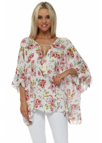 White Floral Print Ruffle Sleeve Tie Top