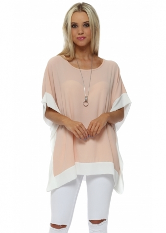Nude Contrast Border Tunic Top With Necklace