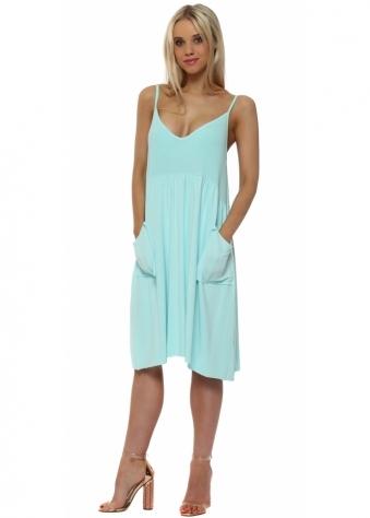 Slippy Stringlet Strap Side Pocket Dress In Paradise Blue