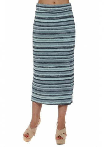 Ora Paradise Blue Ombre Stripe Maxi Skirt