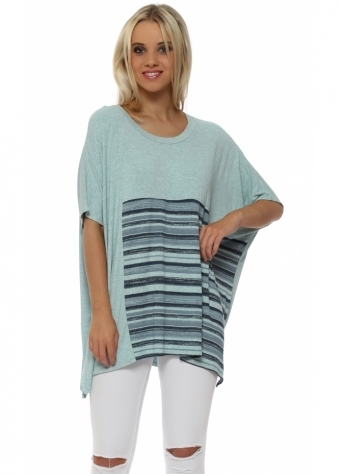 Ophelia Short Sleeve Paradise Blue Block Stripe Top