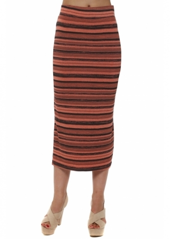 Ora Melon Ombre Stripe Maxi Skirt