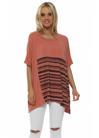 Ophelia Short Sleeve Melon Block Stripe Slouch Top