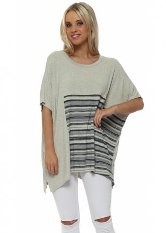 Ophelia Short Sleeve Colada Block Stripe Slouch Top