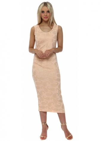 Paige Gold Paisley Print Pleated Midi Dress In Peach Ice