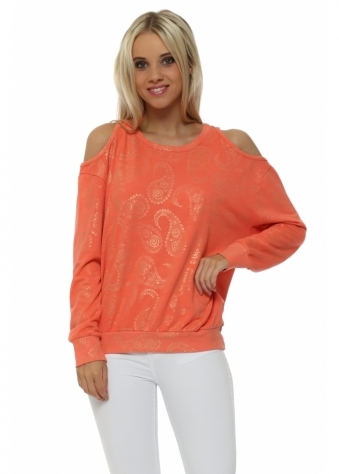 Perrie Melon Gold Paisley Cold Shoulder Sweater