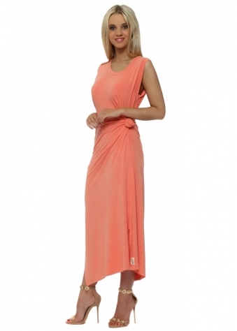 Chloe Knot Tie Maxi Dress In Melon