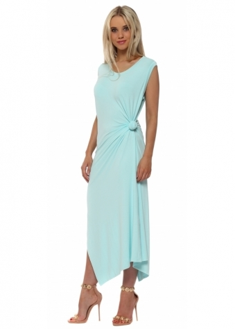 Chloe Knot Tie Maxi Dress In Paradise Blue