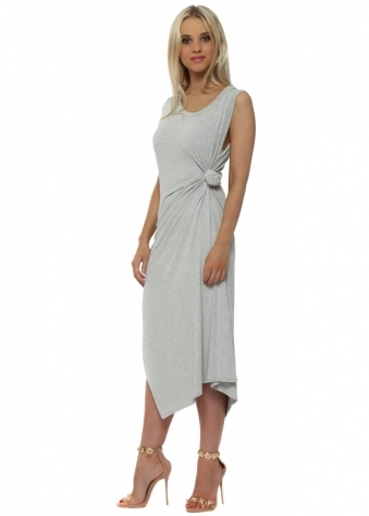 Chloe Knot Tie Maxi Dress In Vanilla Melange