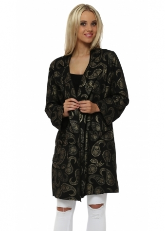 Gold Paisley Print Black Paola Jacket