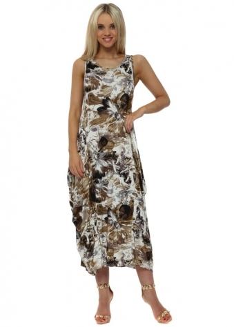 Mocha Print Parachute Jersey Maxi Dress