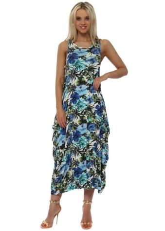 Blue Exotic Floral Print Parachute Maxi Dress