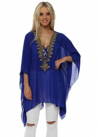 Cobalt Blue Gold Beaded Diamante Kaftan Top