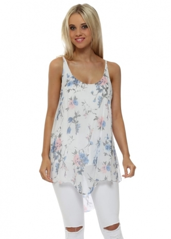 White & Blue Floral Silk Cami Top