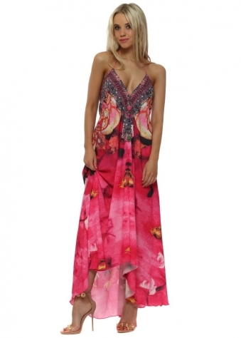 Bright Pink Floral Print Halterneck Maxi Dress