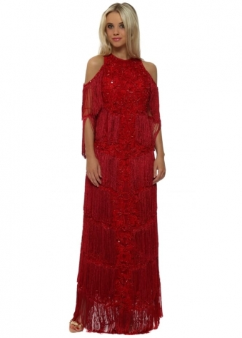 EXCLUSIVE Red Tassel Embellished Cold Shoulder Maxi Dress