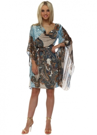 Taupe & Blue Paisley Jersey Kaftan Tie Dress