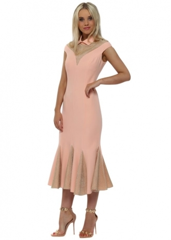 Gold Chain Mail Pink Collar Fluted Midi Dress