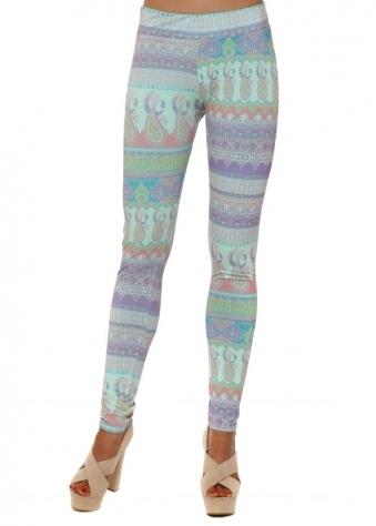 Mia Marrakesh Leggings In Paradise Blue