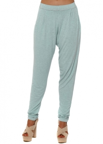 Chillings Loose Fit Pants In Paradise Blue Melange