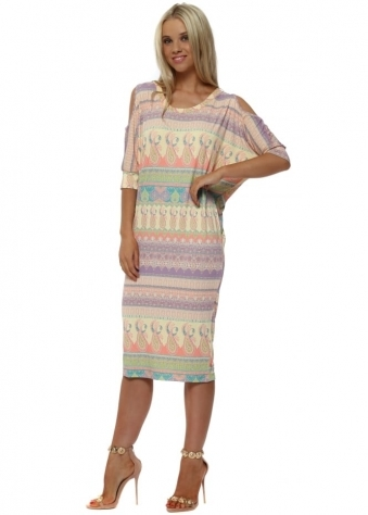 Martina Marrakesh Cold Shoulder Dress In Colada