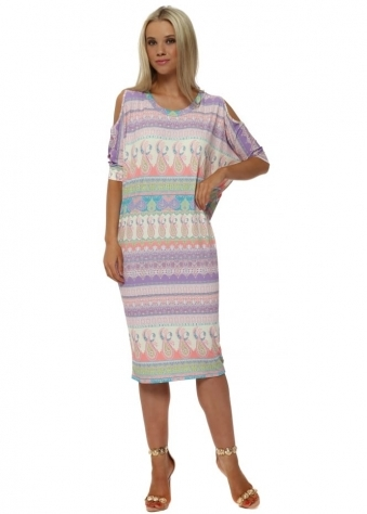 Martina Marrakesh Cold Shoulder Dress In Vanilla