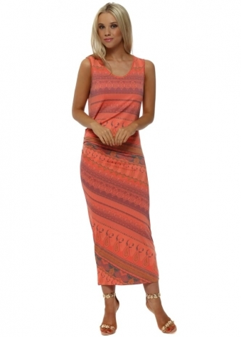Marilyn Marrakesh Pencil Dress In Melon