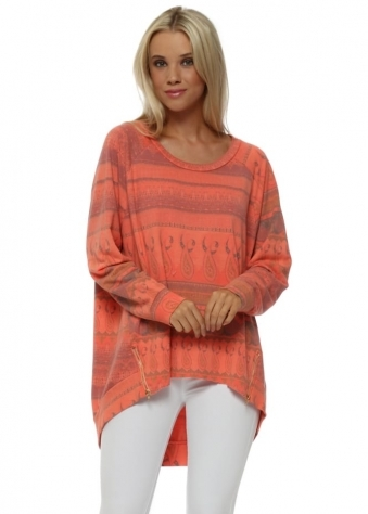 Maisie Marrakesh Zip Sweater In Melon