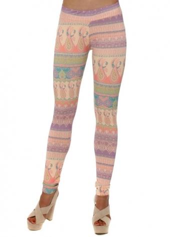 Mia Marrakesh Leggings In Peach Ice
