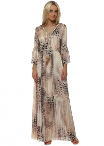 Baby Pink Leopard Print Metallic Rope Detail Maxi Dress