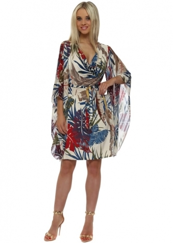 Beige & Blue Palm Jersey Kaftan Tie Dress