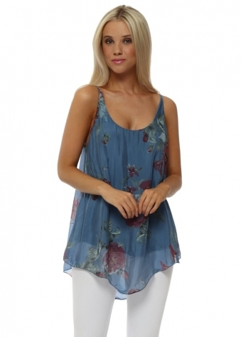 Denim Blue Floral Print Silk Vest Top