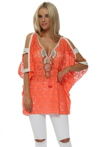 Orange Lace Beaded Ladder Sleeve Kaftan