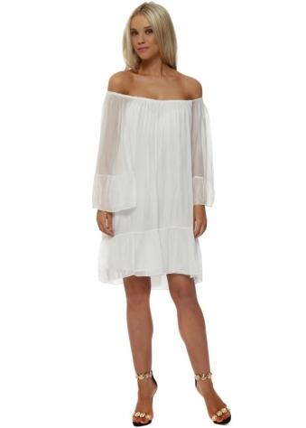 White Silk Frill Tunic Dress